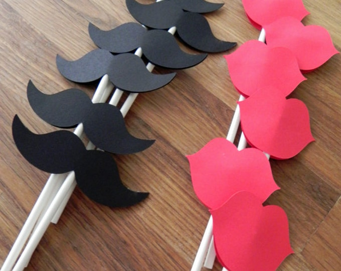 Cupcake Toppers: Gender Reveal Baby Shower - Die Cut Red Lips & Boy Mustaches