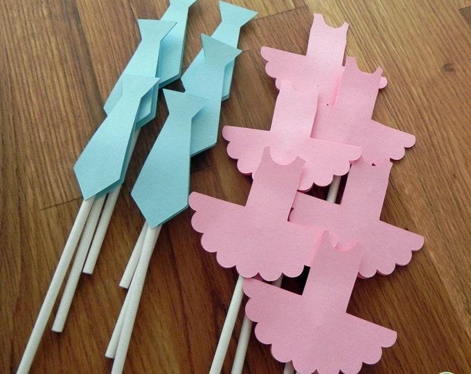 Cupcake Toppers: Gender Reveal Ties or Tutus Baby Shower - Die Cut Pink Girl Ballet Tutu & Blue Boy Ties
