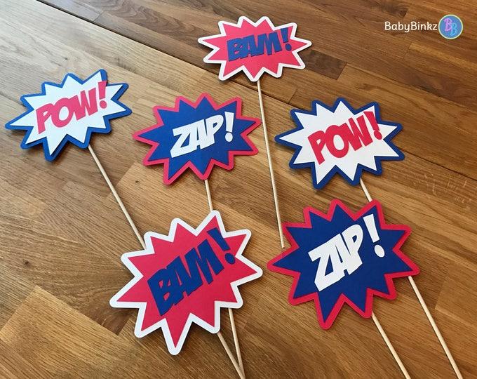 Photo Props: The Captain America Superhero Phrase Set (6 Pieces) - party wedding birthday mask pow bam zap super hero centerpiece