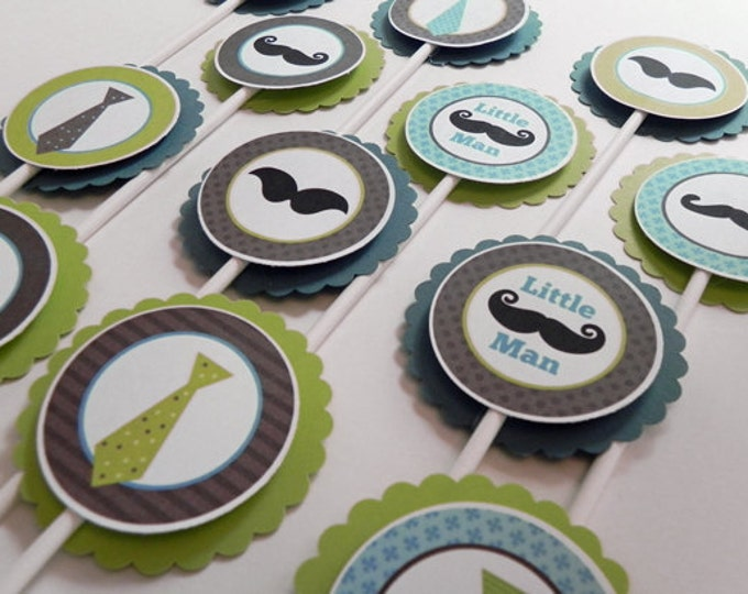 Cupcake Toppers: Little Man Mustaches and Ties in Blue Green & Brown - Boy Baby Shower or Kids Birthday Party Decorations