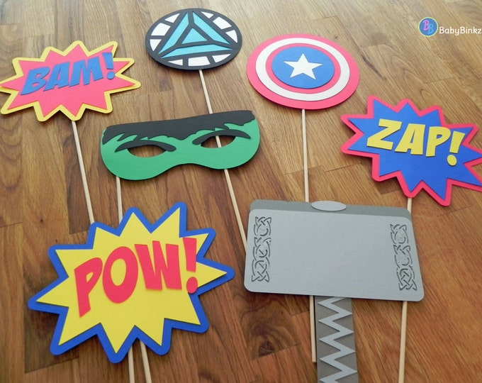 Photo Props: The Marvel Avengers Super Hero Set (7 Pieces) - party wedding birthday mask pow thor hulk america ironman avengers centerpiece