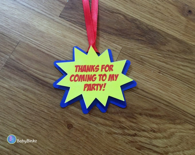 Super Hero Comic Phrase Party Favor Gift Tags - Red, Blue & Yellow Birthday Party and Baby Shower Decorations Super Hero Goodie Bag