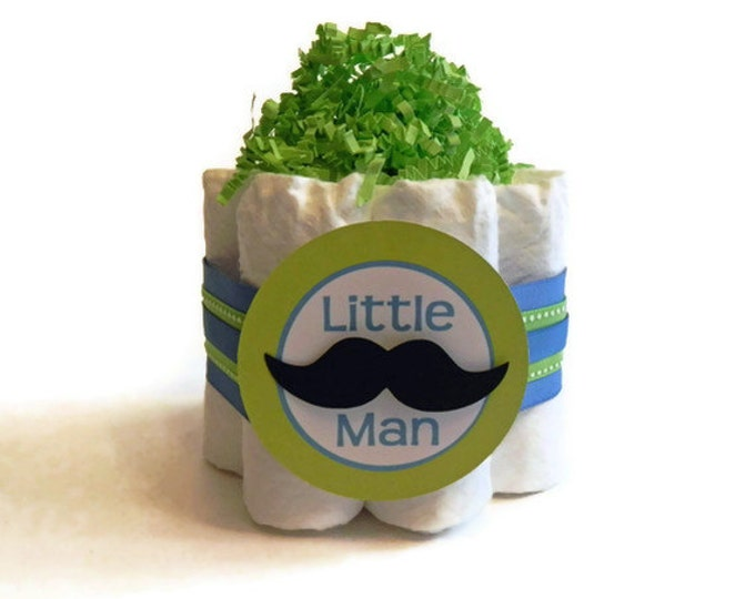 Little Man Mustache Mini Diaper Cakes - Unique Baby Shower Gift, Centerpiece, decoration cute boy blue green mustache tie