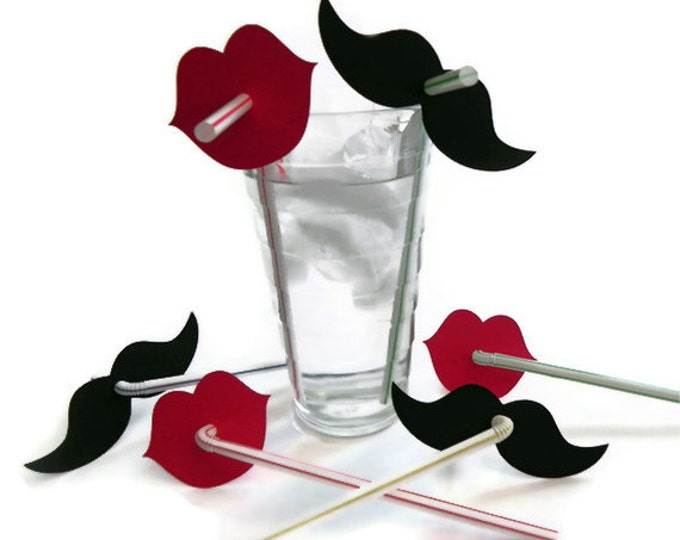 Mustache & Red Lip Straw Combo (100) - Die Cut Mustaches (50) and Lips (50) - photo prop party decoration punch cutout card stock