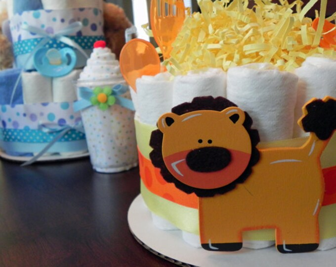 Lion Diaper Cake - One Tier Baby Shower Gift or Centerpiece