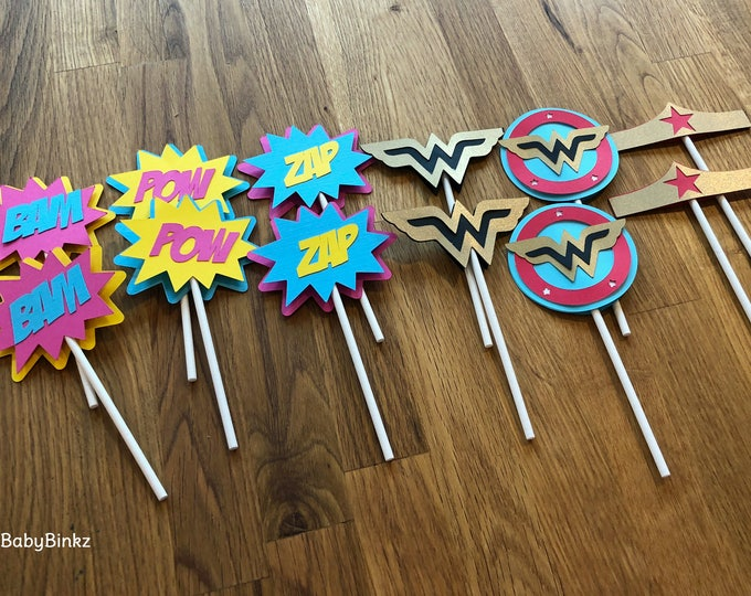 Die Cut Wonder Woman Inspired Super Hero Logo Cupcake Toppers - superhero wonderwoman girl female comic birthday party decorations wedding