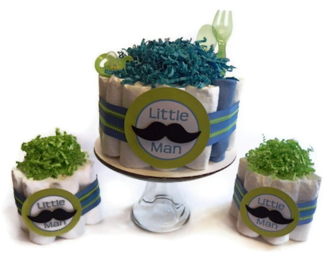 Little Man Diaper Cake Party Pack - Little Man Mustache Tie - baby shower gift decoration baby boy blue green