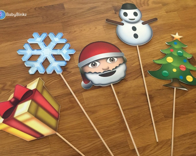 Photo Props: The Christmas Set (5 Pieces) party wedding birthday decoration santa snowman social media gift tree app icon stick centerpiece