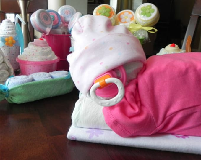 Sleeping Baby Diaper Cake - baby blanket Bodysuit hat socks pacifier baby shower gift cute unique boy girl neutral
