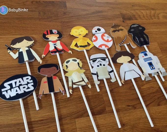 Cupcake Toppers: The Star Wars Set - party wedding birthday jedi force BB8 R2D2 CP3O Rey Leia storm trooper awakens starwars