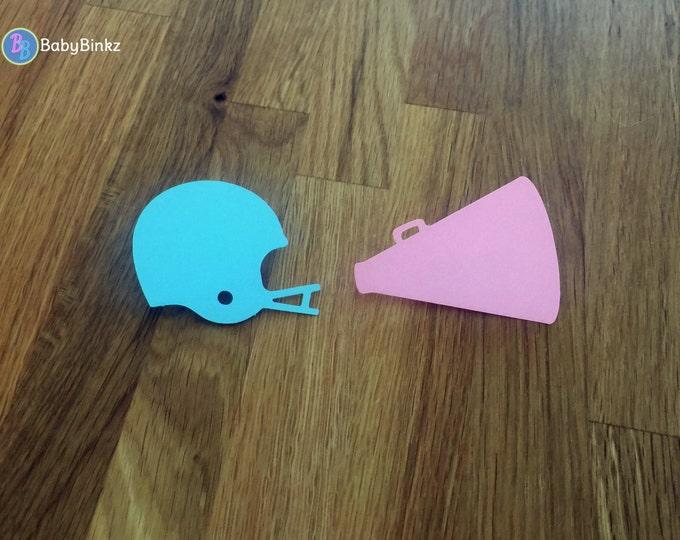 Party Pins: Team Blue Helmets vs Team Pink Cheerleader Megaphone Gender Reveal Baby Shower Die Cut Pink Girl Blue Boy pom pom helmet vote