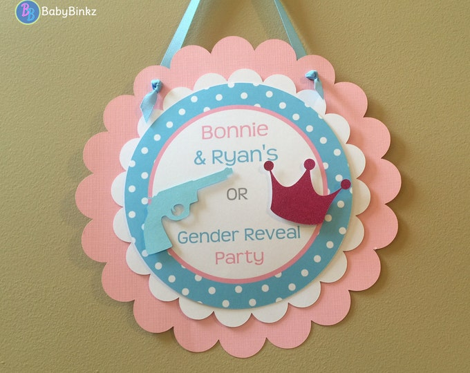 Door Sign: Gender Reveal Party - Guns or Glitter Party Decorations die cut blue pistol rifle pink crown tiara girl boy