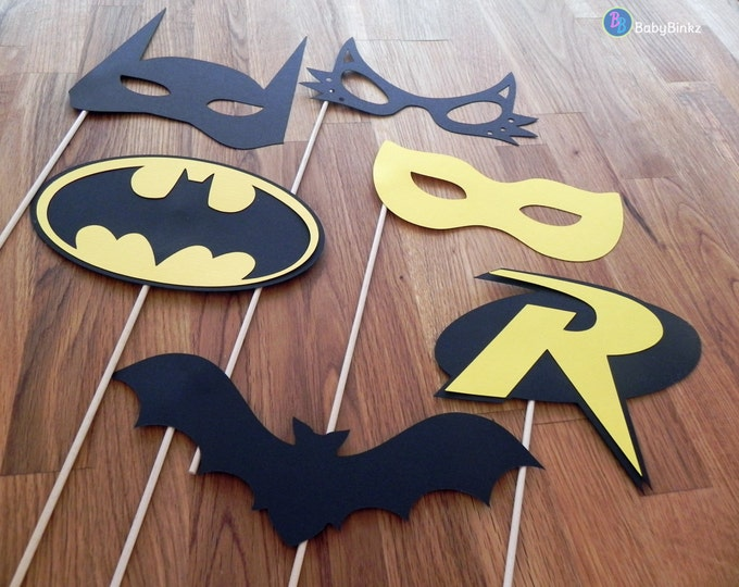 Superhero Photo Props: The Batman Set (6Pieces) - party wedding birthday die cut superhero mask robin cat woman