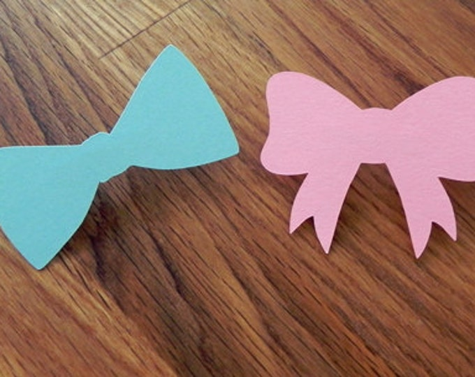Party Pins: Gender Reveal Baby Shower - Die Cut Pink Girl Bows & Blue Boy Bow Ties wedding engagement vote