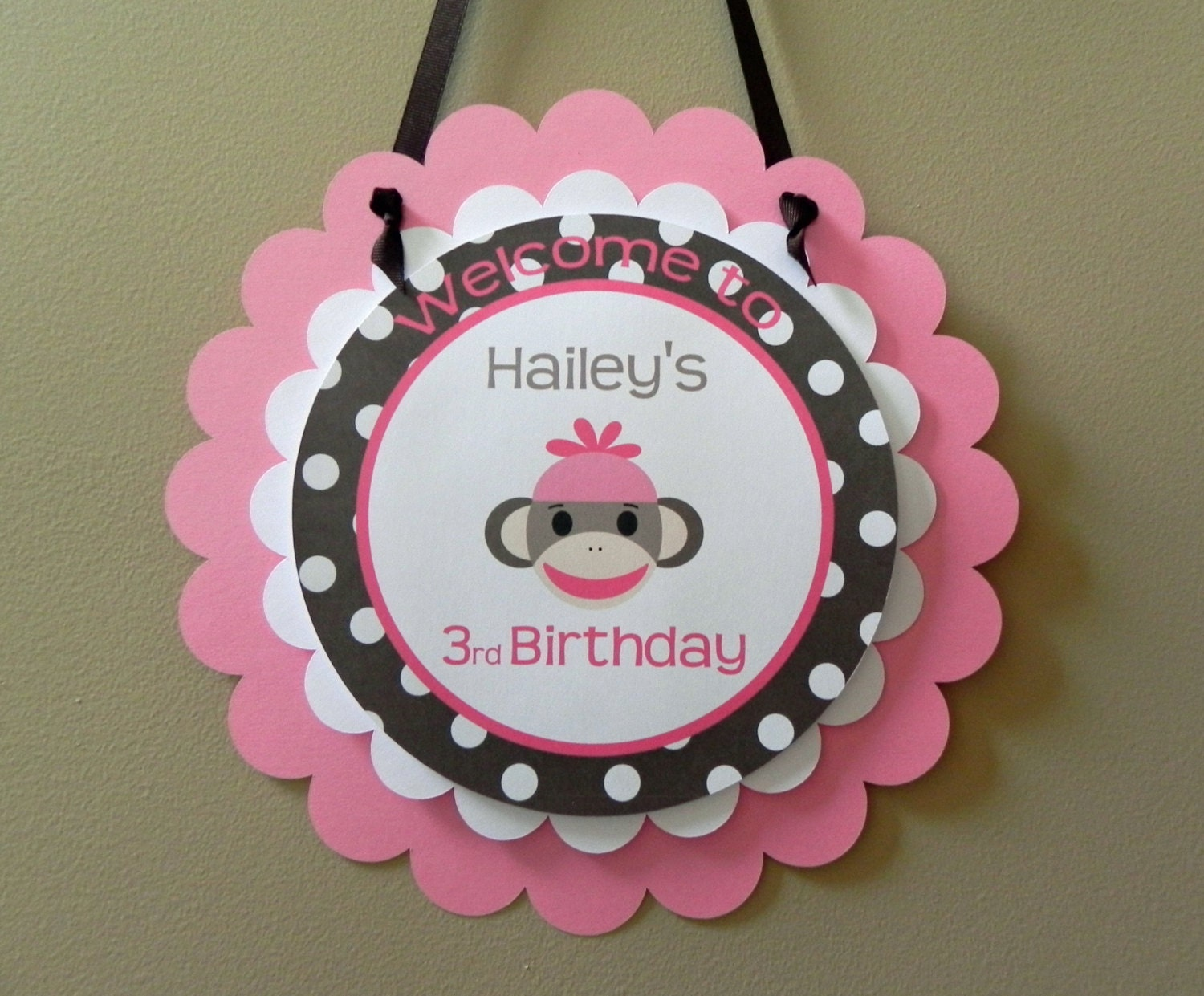door sign pink brown sock monkey girl birthday party baby