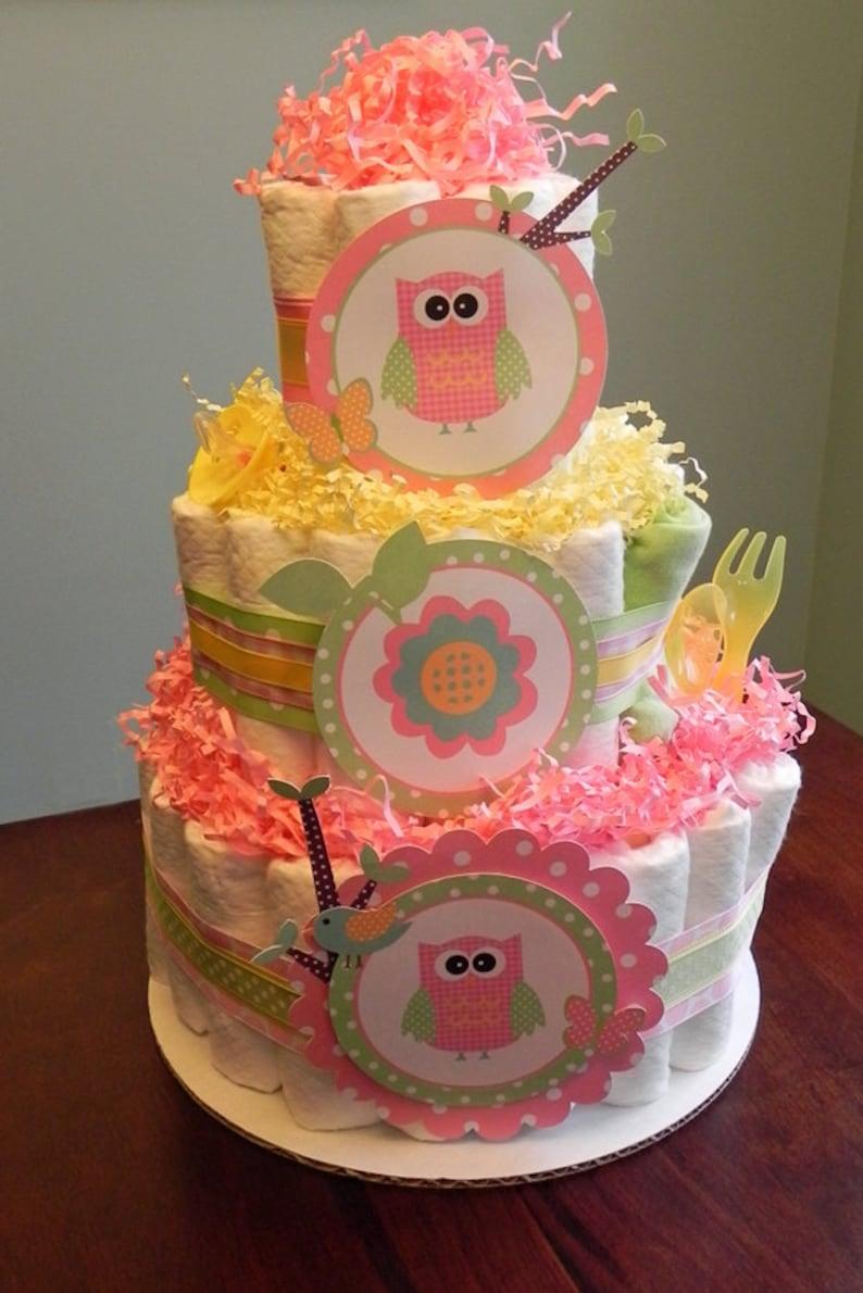 Pink Yellow Woodland Owl Diaper Cake Three Tier Baby Etsy