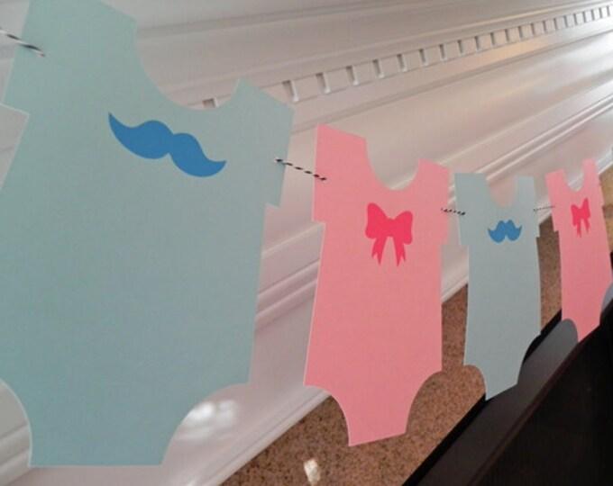 Party Banner: Gender Reveal Blue Boy Mustache & Pink Girl Bow Bodysuit Garland - Baby Shower gender reveal die cut mustaches bows photo prop