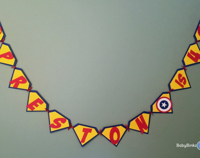 Custom Super Hero Pennant Banner - Superman Captain America Batman Happy Birthday comic die cut custom superhero marvel inspired