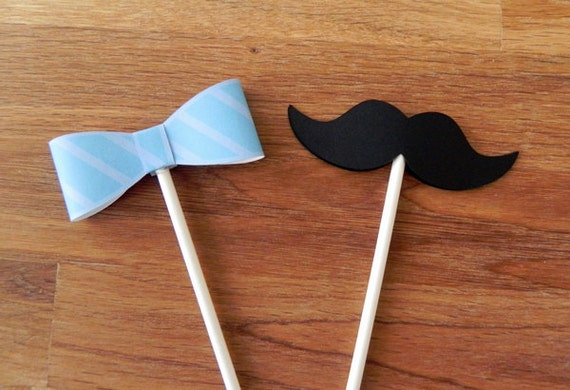 Cupcake Toppers Little Man Bow Ties And Mustaches Baby Shower Etsy