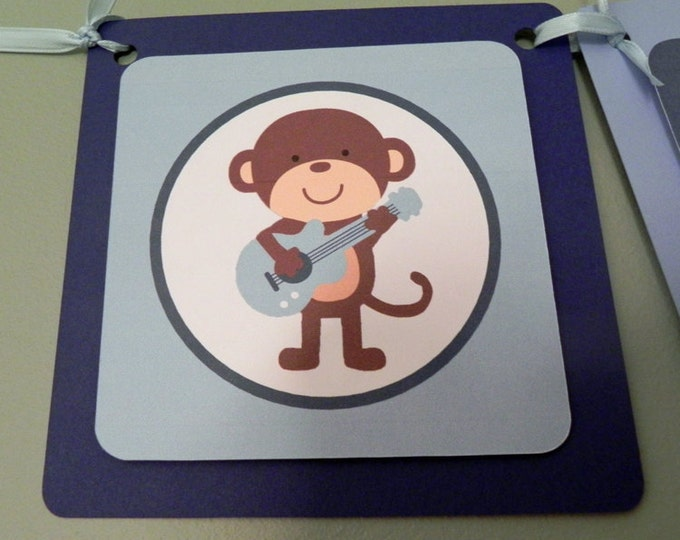 Rock Star Monkey Name Banner - blue boy monkey guitar baby name rock and roll