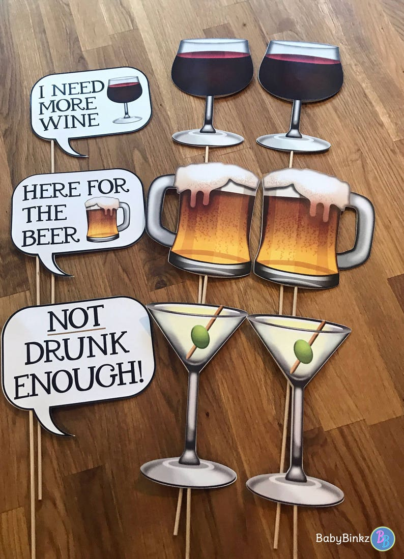 Photo Props: The Emoji Cocktail Speech Bubble Set (9 Pieces) - party  wedding birthday social media iPhone app icon emoji beer wine