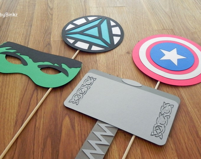 Photo Props: The Marvel Avengers Super Hero Set (4 Pieces) - party wedding birthday mask pow thor hulk america avengers
