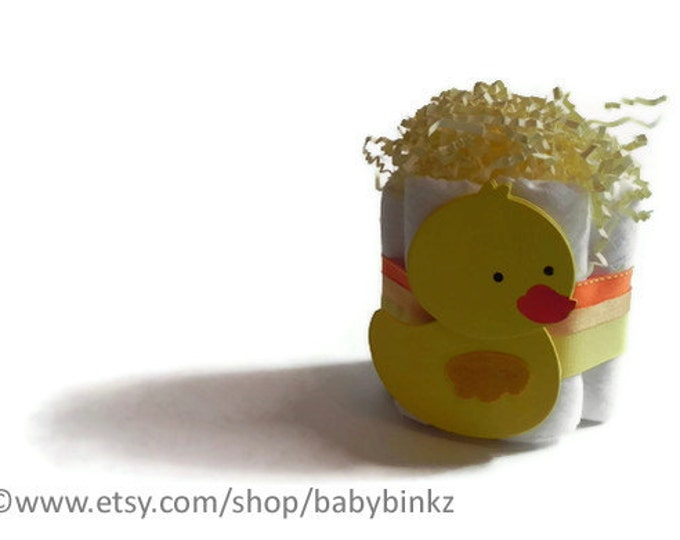 Cute Duckie Mini Diaper Cake - Unique Baby Shower Gift, Centerpiece, Favor cute jungle princess animals boy girl neutral custom