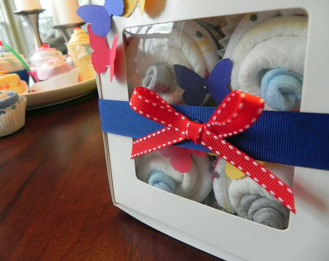 Diaper Cupcake Gift Set - Unique Baby Shower Gift infant washcloth socks cute boy girl neutral