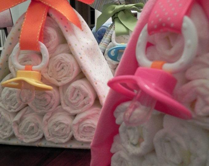 Diaper Cake Stork Bundle - Unique Baby Shower Gift, Centerpiece, Favor receiving blanket pacifier girl boy neutral