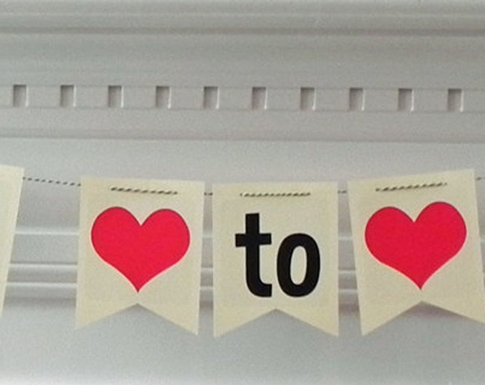Party Banner: Miss to Mrs Pennant Banner bridal shower bachelorette party die cut custom photo prop wedding engagement heart love