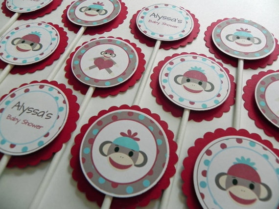 cupcake toppers red blue sock monkey baby shower etsy