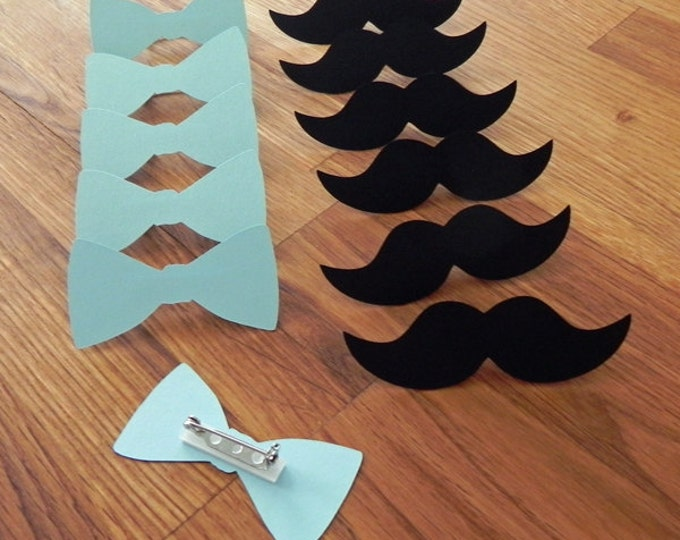Party Pins: Little Man Party - Die Cut Blue Bow Ties & Mustaches baby shower birthday party Vote