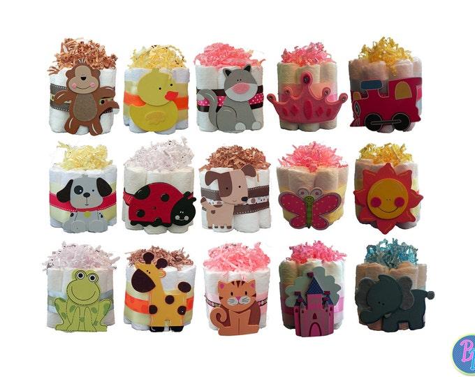 Mini Diaper Cakes - Unique Baby Shower Gift, Centerpiece, Favor cute jungle princess animals boy girl neutral custom