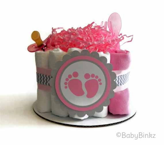 baby footprint diaper cake pink and grey chevron one