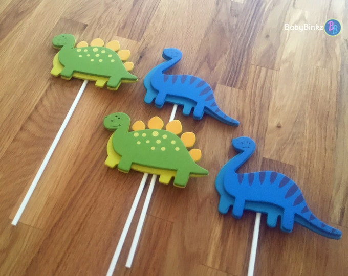 Dinosaur Shape Cake Toppers or Party Decorations blue brontosaurus dino green stegosaurus dino
