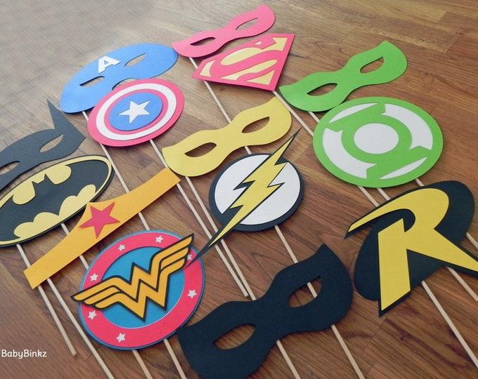 Photo Props: The Superhero Mask & Logo Set (14 Pieces) - party wedding birthday die cut superhero mask superman america batman wonder woman