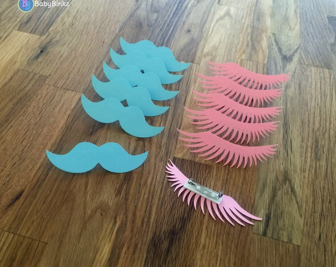Party Pins: Staches or Lashes Gender Reveal Baby Shower - Die Cut Pink Girl eyelashes & Blue Boy mustache vote game