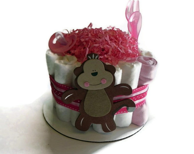 Pink Monkey Diaper Cake - One Tier  Baby Shower gift or centerpiece jungle girl animal