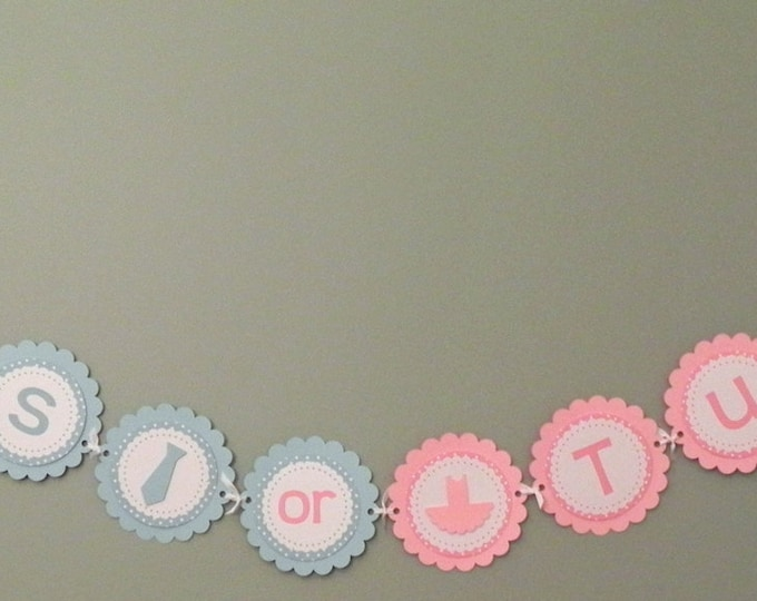 Gender Reveal Party Banner - Ties or Tutus Party Decorations die cut bow tie blue pink ballet tutu photo prop
