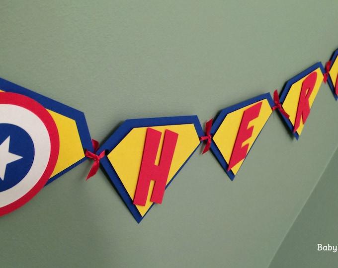 Super Hero Pennant Banner - Superman Captain America Batman Happy Birthday red blue yellow comic die cut custom superhero marvel inspired