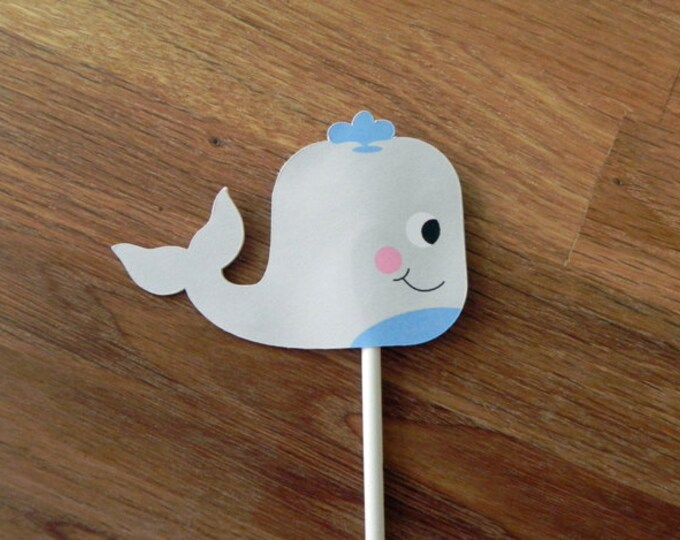 Cupcake Toppers: Cute Die Cut Whale Baby Shower or Birthday Party