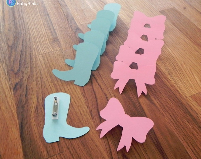 Party Pins: Boots or Bows Gender Reveal Baby Shower - Die Cut Pink Girl Bows & Blue Boy Cowboy Boots vote