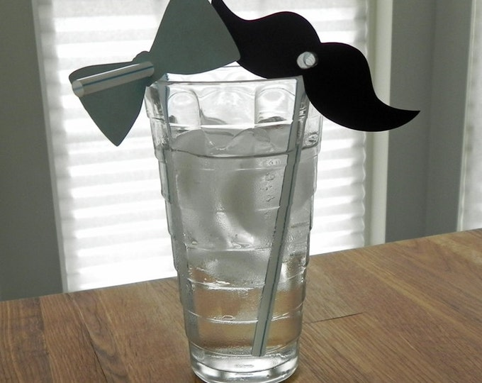 Little Man Mustache & Blue Bow Tie Straw Combo (20) - Die Cut Mustaches (10) and Bow Ties (10) - photo prop punch cutout card stock