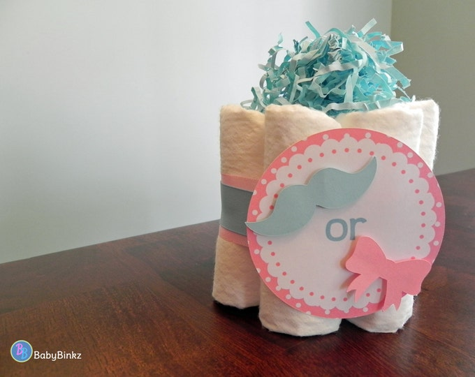 Gender Reveal Mini Diaper Cake - Baby Shower Gender Reveal gift or centerpiece mustache bow girl boy bow tie
