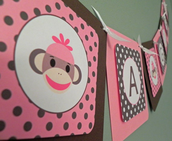 baby shower banner pink brown sock monkey it s a girl etsy