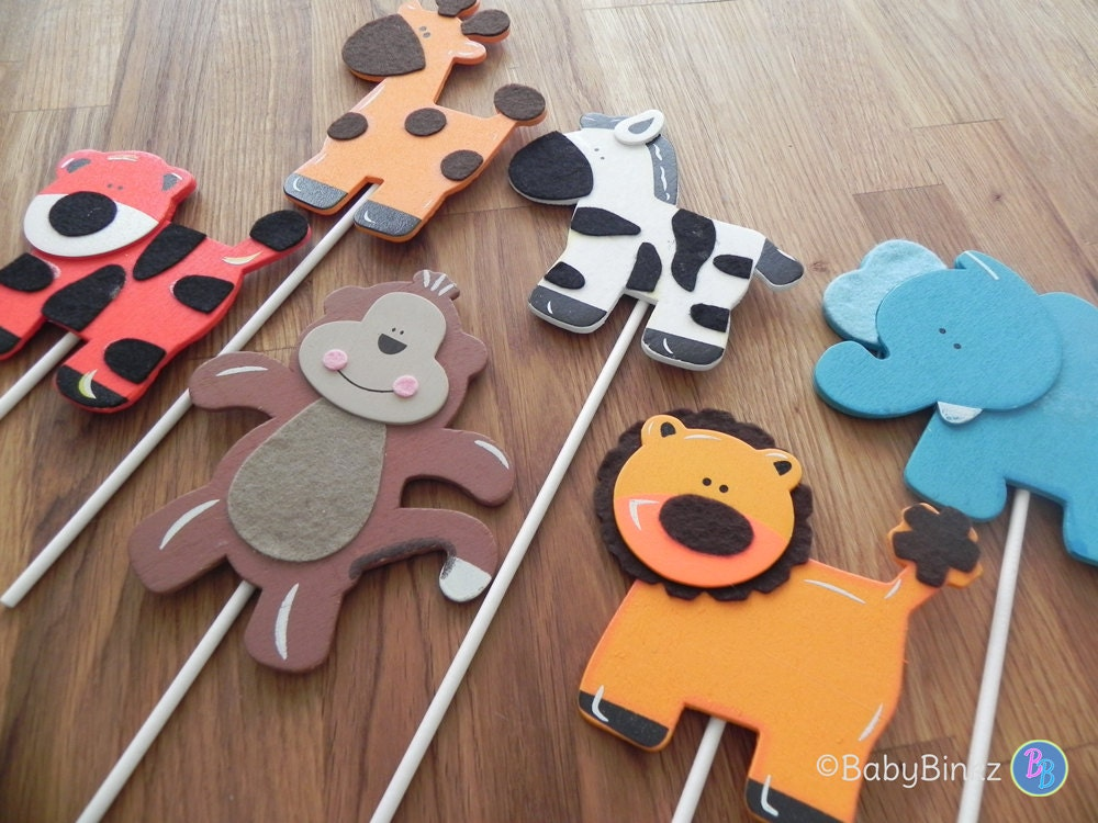 Jungle Animal Shapes Cake Toppers Or Party Decorations Monkey