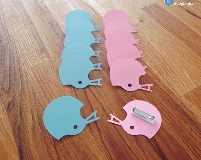 Party Pins: Team Blue vs Team Pink Football Helmet Gender Reveal Baby Shower - Die Cut Pink Girl Blue Boy Football helmet vote