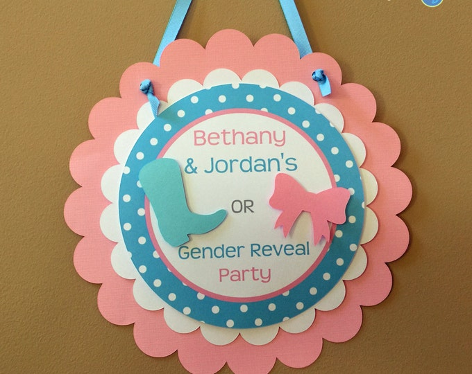 Door Sign: Gender Reveal Party - Boots or Bows Party Decorations die cut blue cowboy boots pink hair bow girl boy