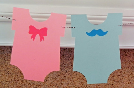 Party Banner die cut mustaches bows garland photo prop Mustache and Pink Bow Garland gender reveal baby shower wedding engagement