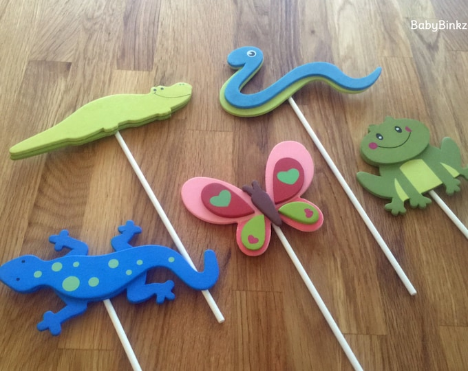 Cute Lizard, Frog & Alligator Shapes - Cake Toppers or Party Decorations butterfly snake frog baby shower birthday party